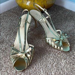 Kate Spade Size 10.5 Gold Leather Slingback Heels